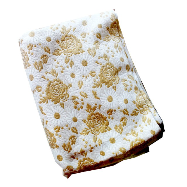 White and Gold Upholstery Fabric