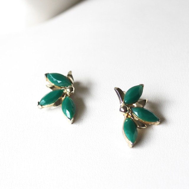 Green Rhinestone Leaf Earrings 2