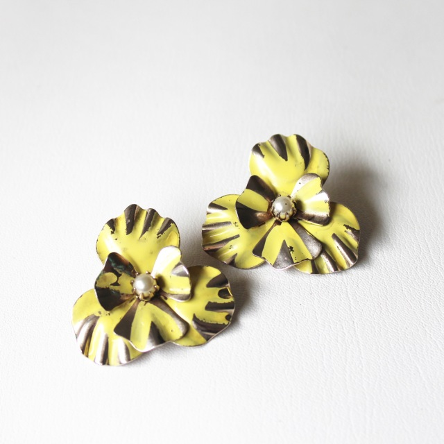 Yellow Enamel Flower Earrings 2