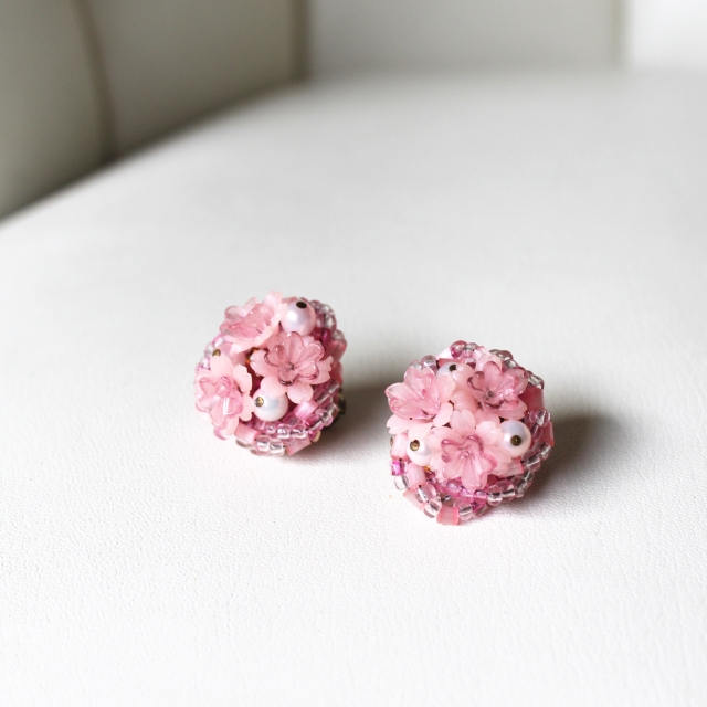 Pink Plastic Flower Earrings 2