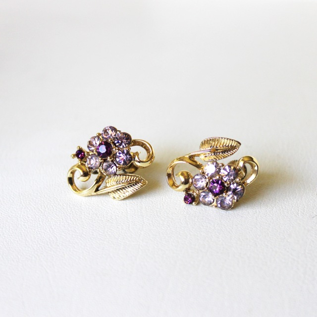 Purple Rhinestone Flowers 1