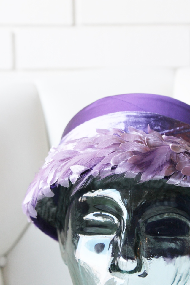 Purple Feather and Satin Hat 1
